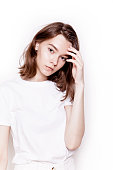istock Young beautiful slim woman wearing white clothes Casual summer fashion 961543472