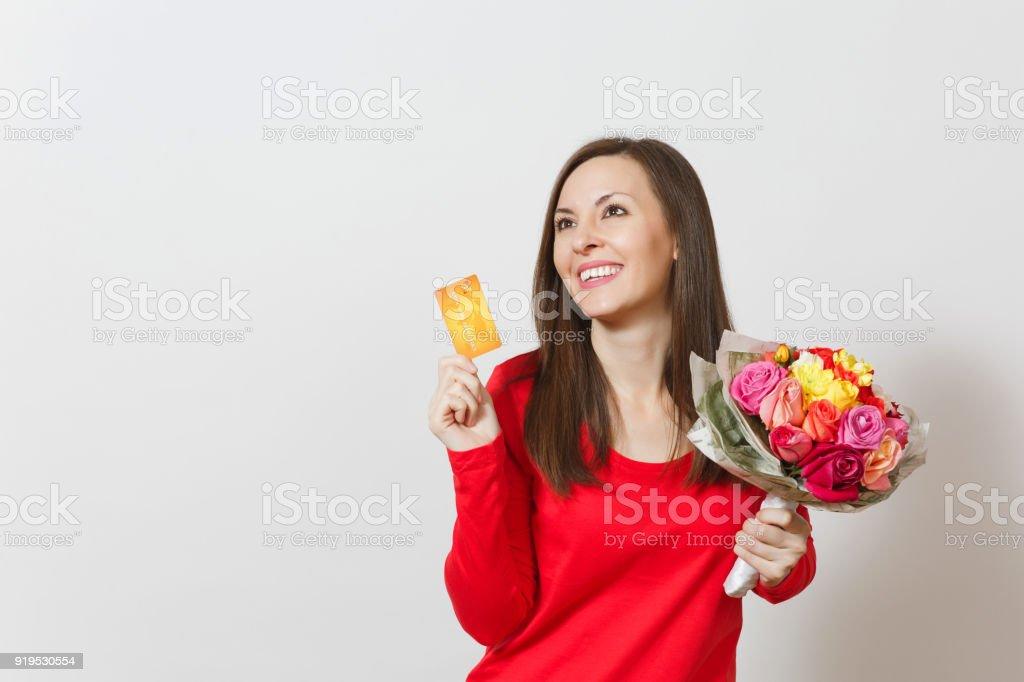 Junge Schone Lachelnde Frau Mit Bouquet Von Schonen Rosen Blumen