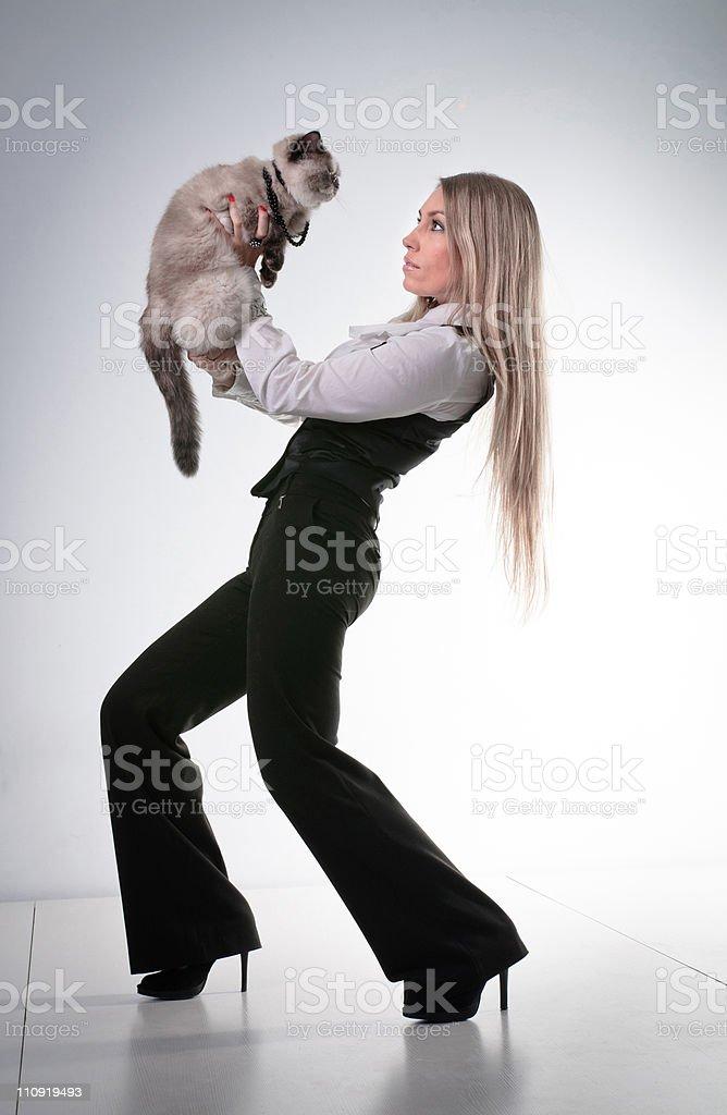 Young beautiful woman, blond girl, studio stock photo