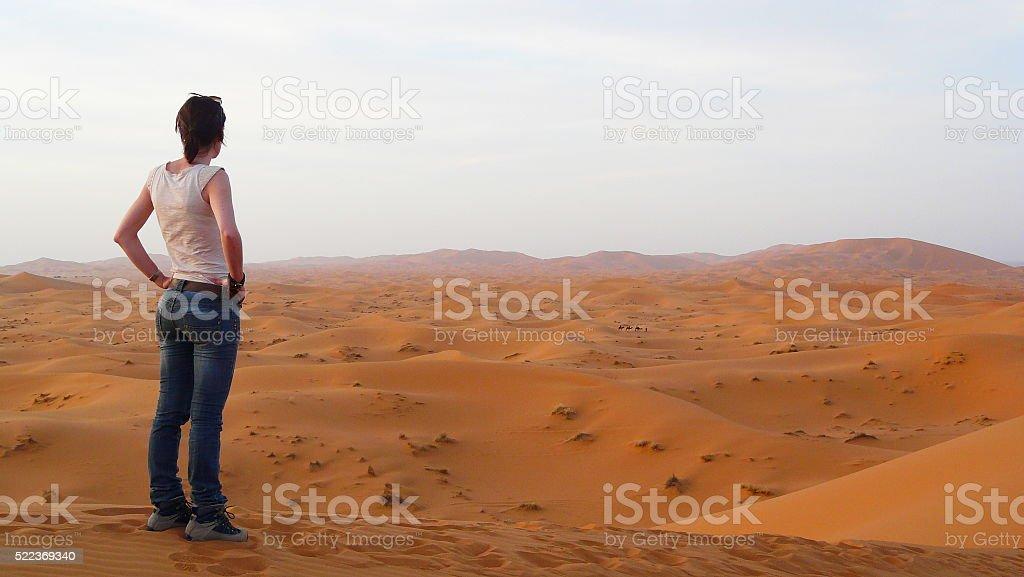Young beautiful woman enjoying an amazing view in the desert. stock photo