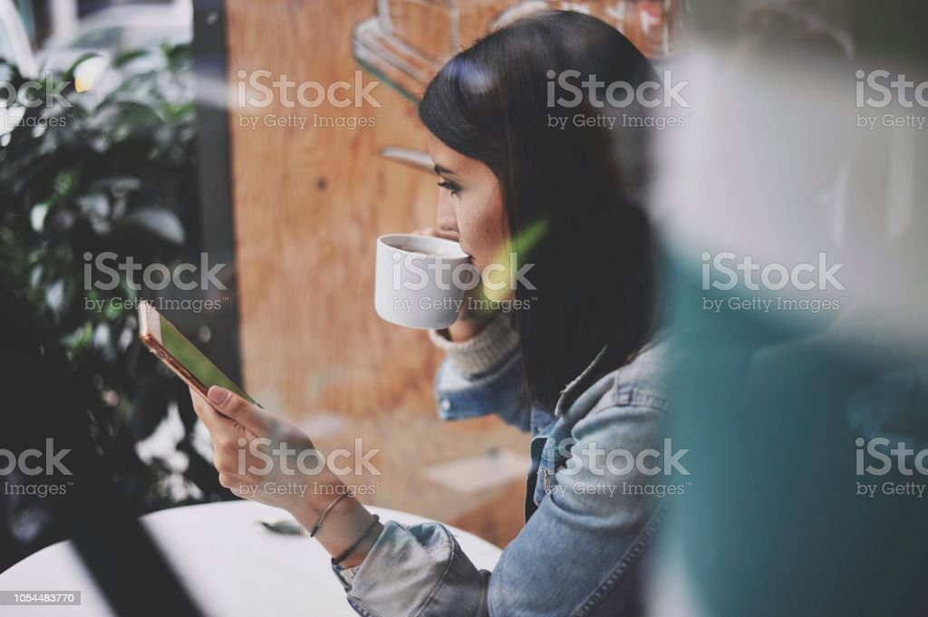 Young beautiful woman enjoying stock photo
