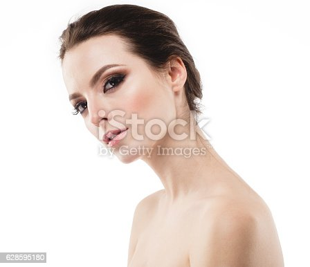 istock Young beautiful woman face portrait with healthy skin 628595180
