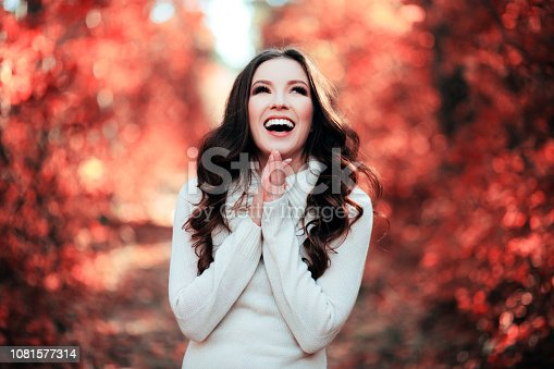 istock Young beautiful woman in Coral color of the year 2019. 1081577314