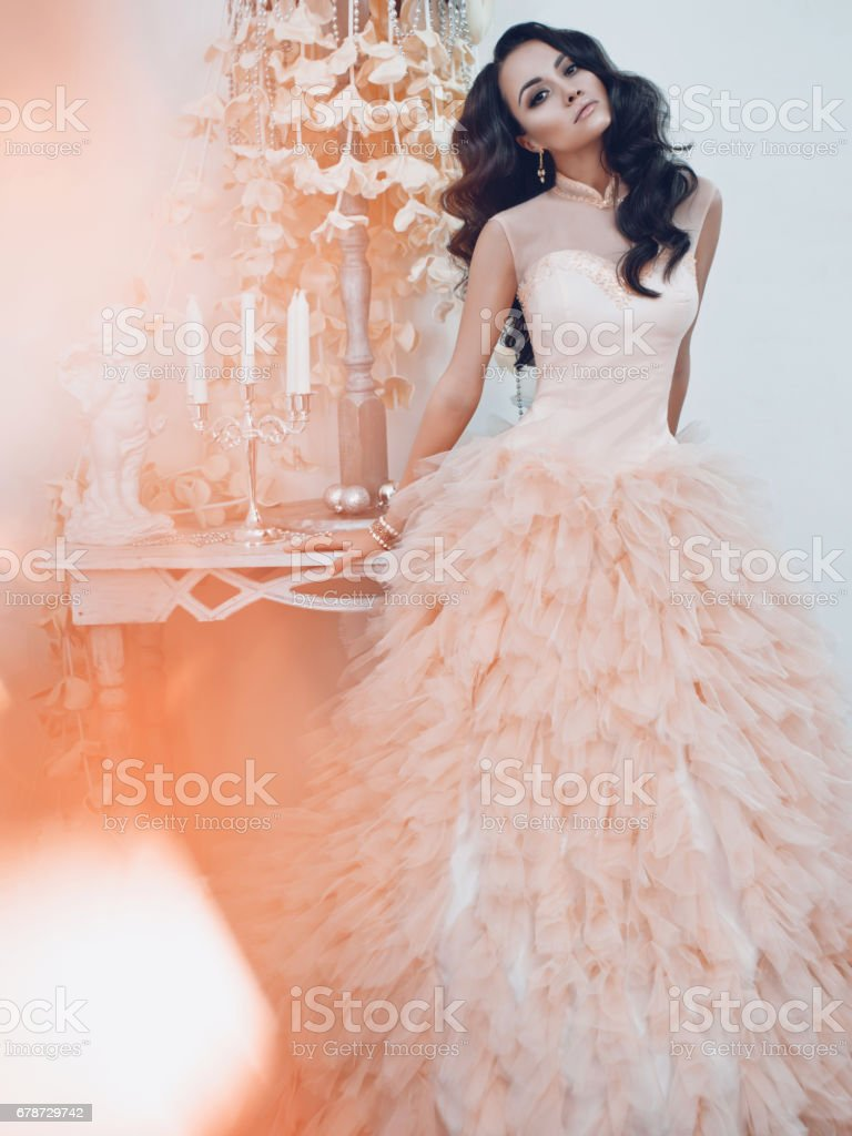 Young beautiful woman in gorgeous dress photo libre de droits