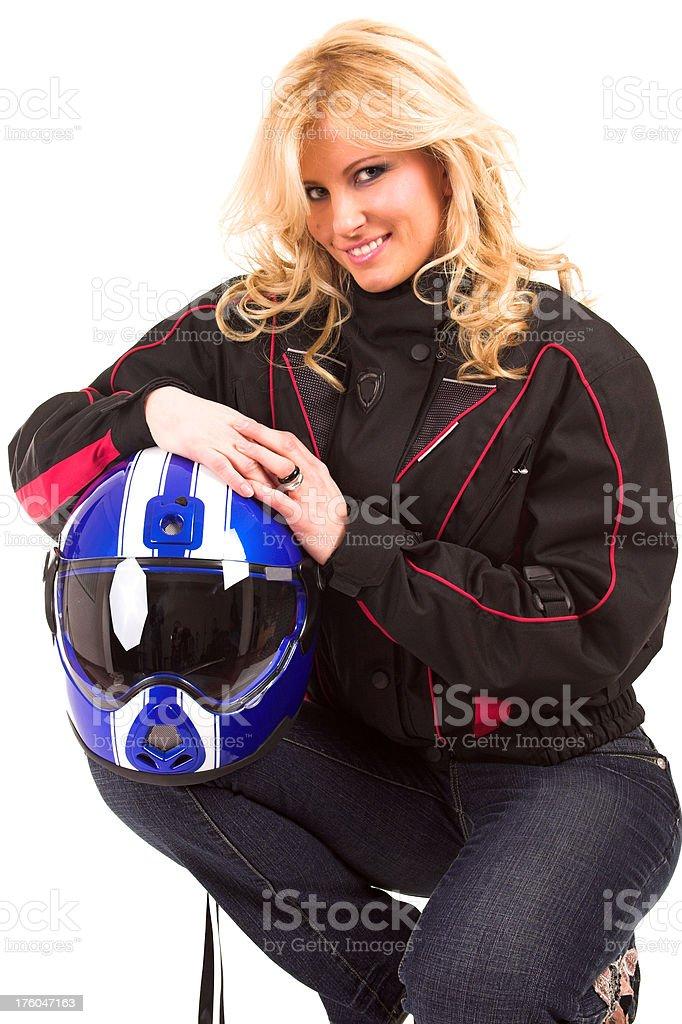Young beautiful woman in motoracer uniform royalty-free stock photo