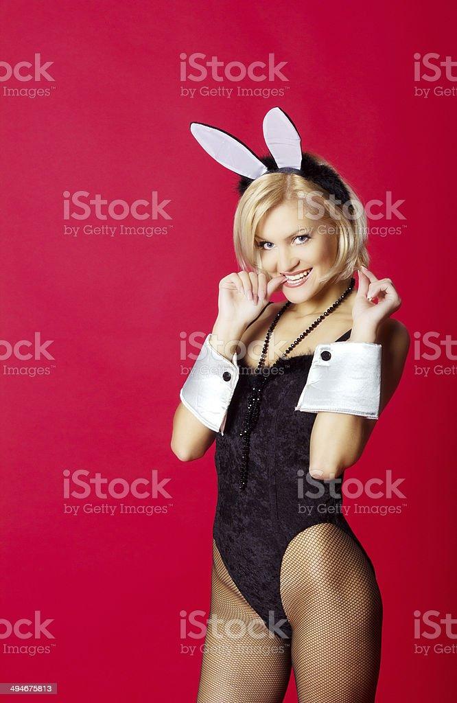 young beautiful woman in rabbit costume stock photo