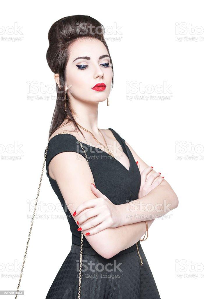 4c6bde8d541 Jovem mulher bonita em pin-up estilo retrô isolado foto de stock  royalty-free
