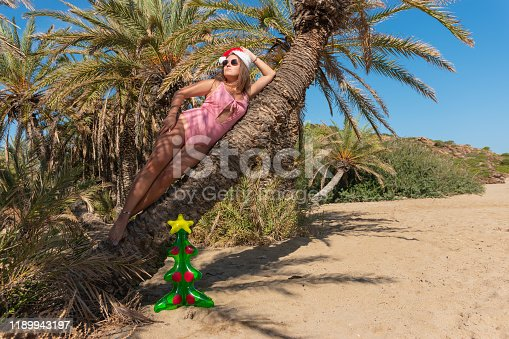 Young beautiful woman in Santa hat lying on palm tree. Christmas vacation concept.
