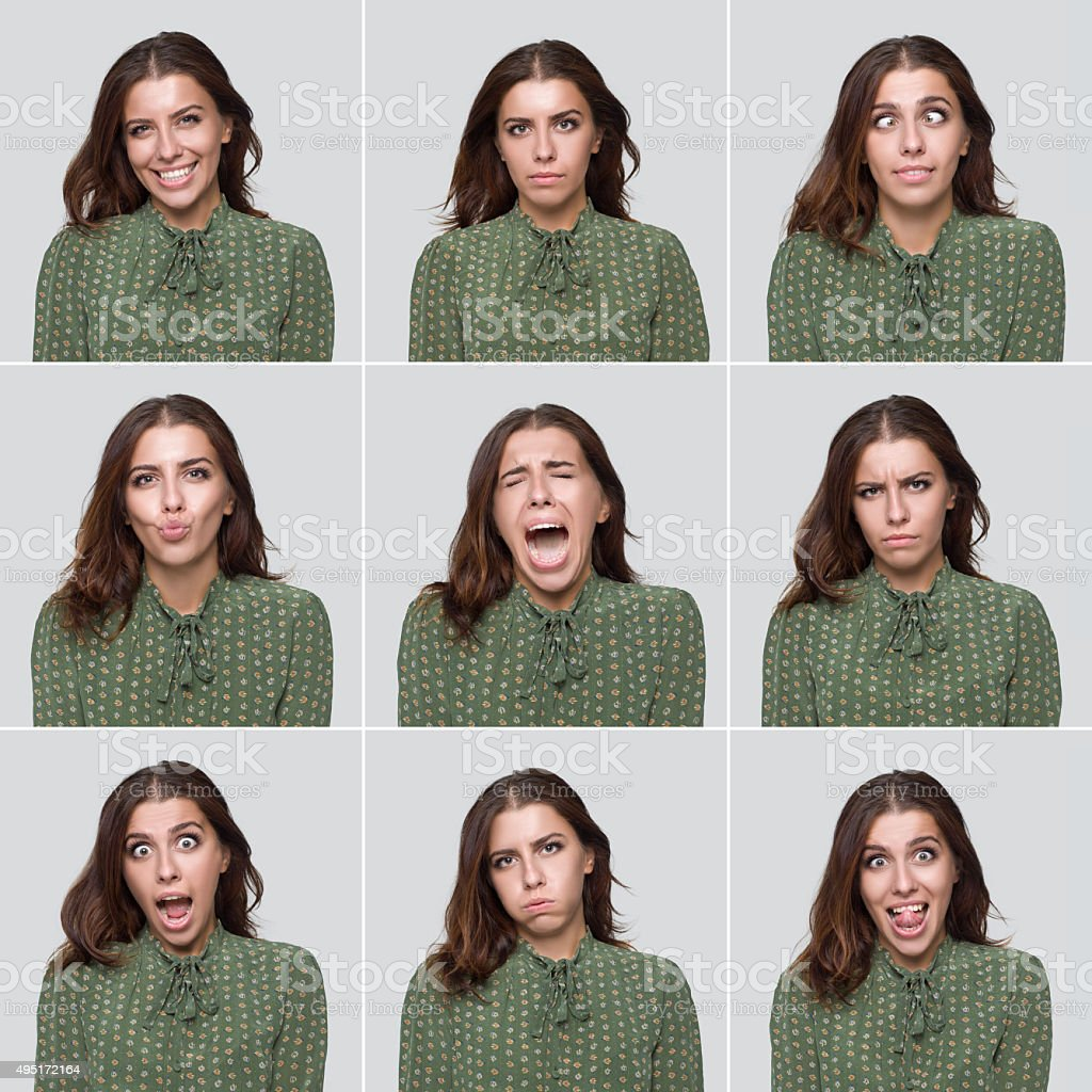 Young beautiful woman making various facial expressions stock photo