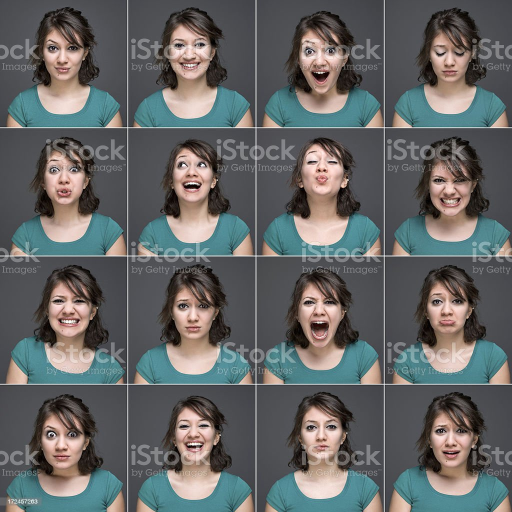 Young beautiful woman making various facial expressions, studio shot stock photo