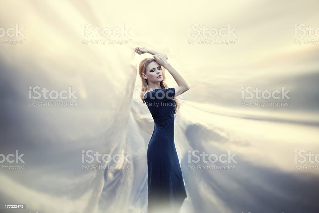 young beautiful woman on abstract background stock photo
