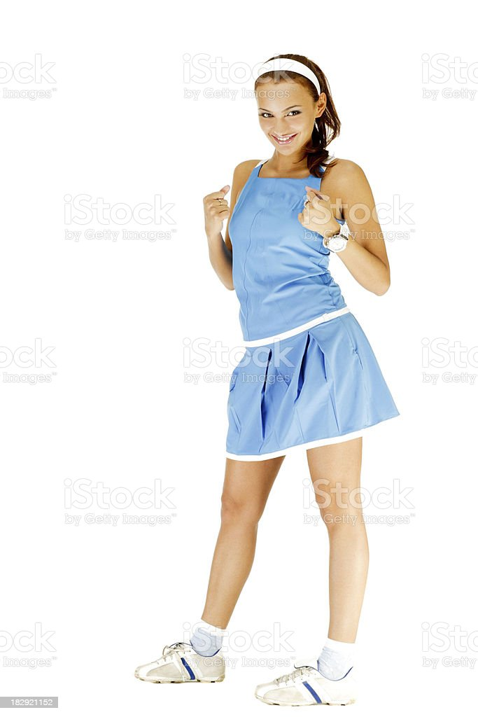 Young Beautiful Woman posing in Sport Wear on white background royalty-free stock photo