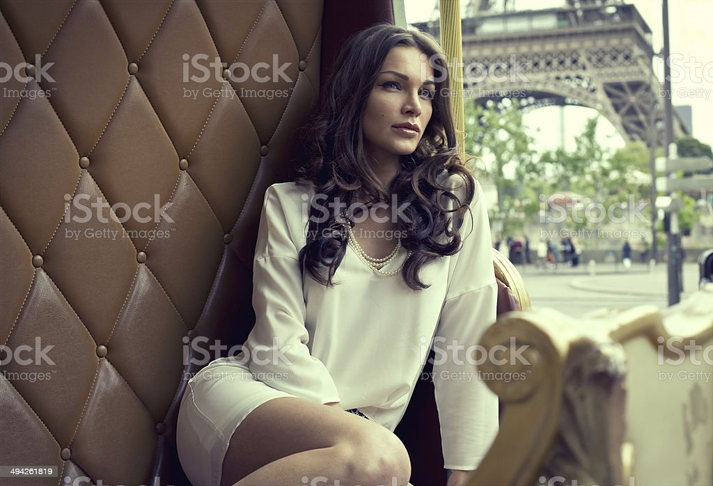 Young beautiful woman resting in Paris stock photo