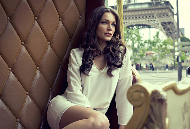 young beautiful woman resting in paris - paris fashion stock photos and pictures