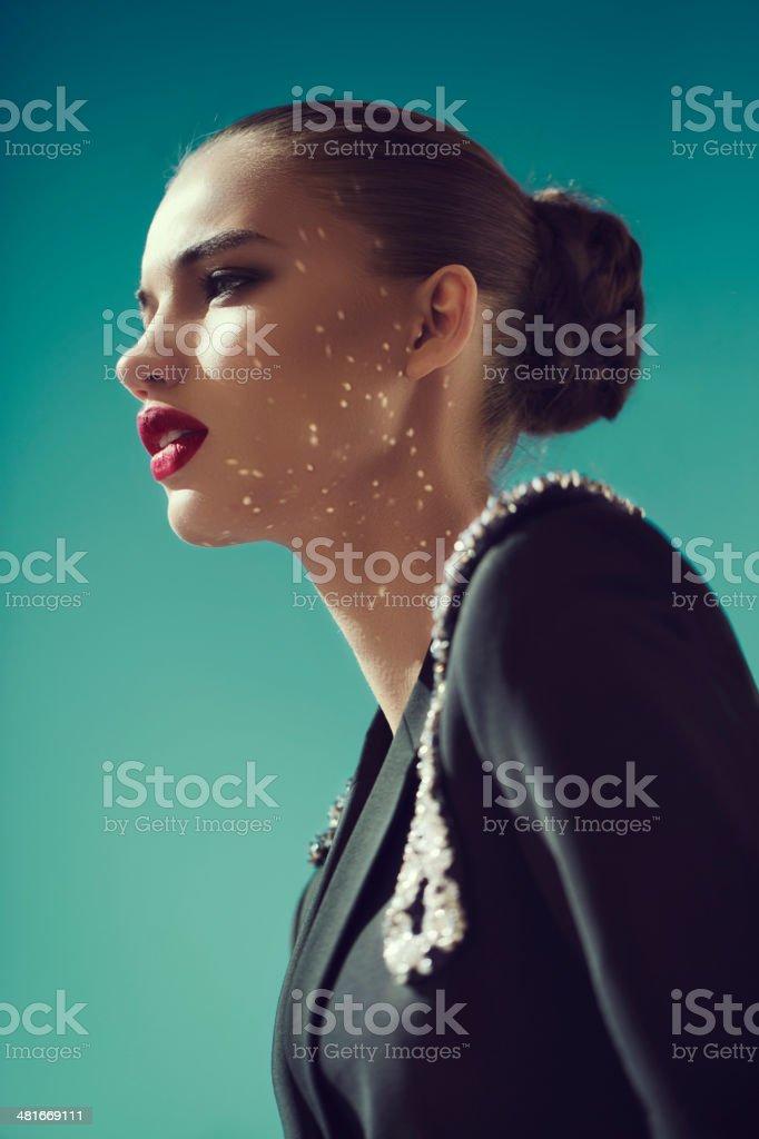 Young beautiful woman wearing dress haute couture stock photo