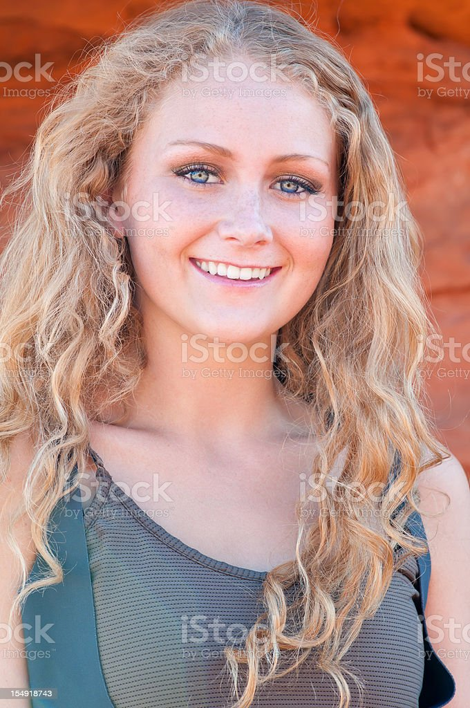 Young beautiful woman with blue eyes - IX stock photo