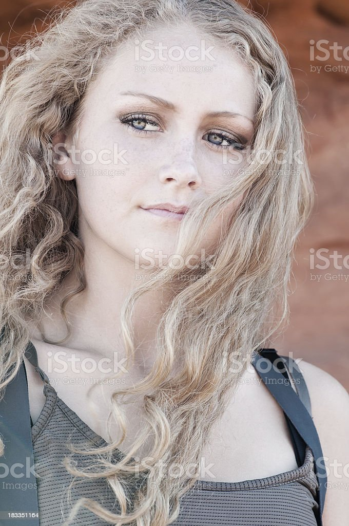 Young beautiful woman with blue eyes - VIII stock photo