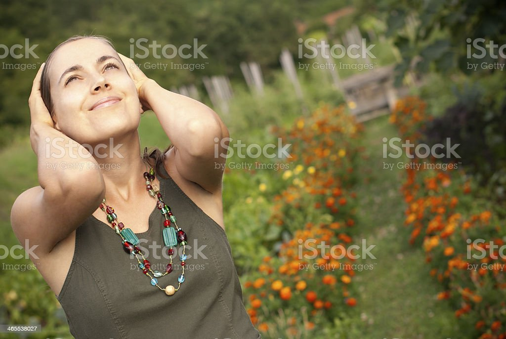 Young Beautiful Woman with Colorful Necklace royalty-free stock photo
