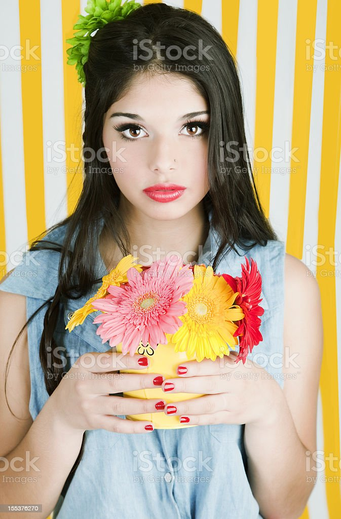 Young Beautiful Woman with Flowers royalty-free stock photo