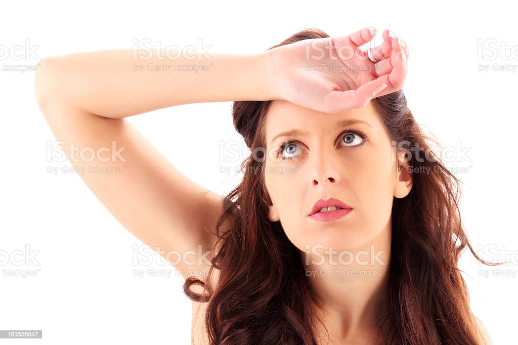 Young beautiful woman with headache . stock photo