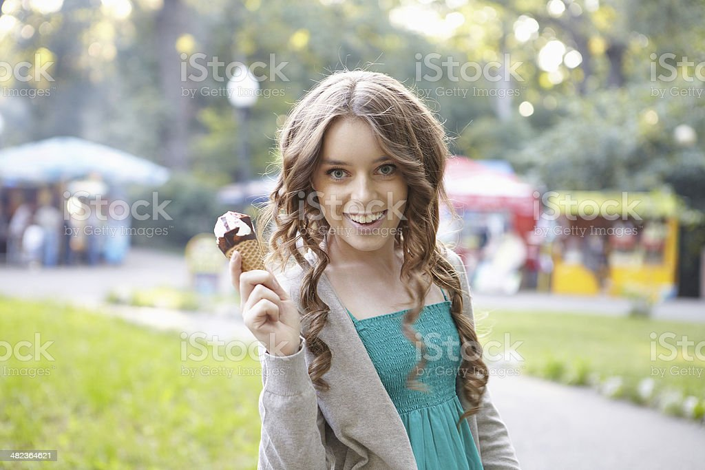 Young beautiful woman with ice cream. royalty-free stock photo