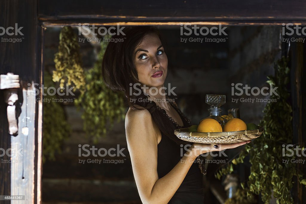 young beautiful woman with tequila and citrus royalty-free stock photo