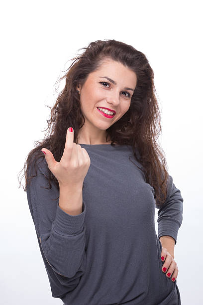 Young beautiful women - come on stock photo