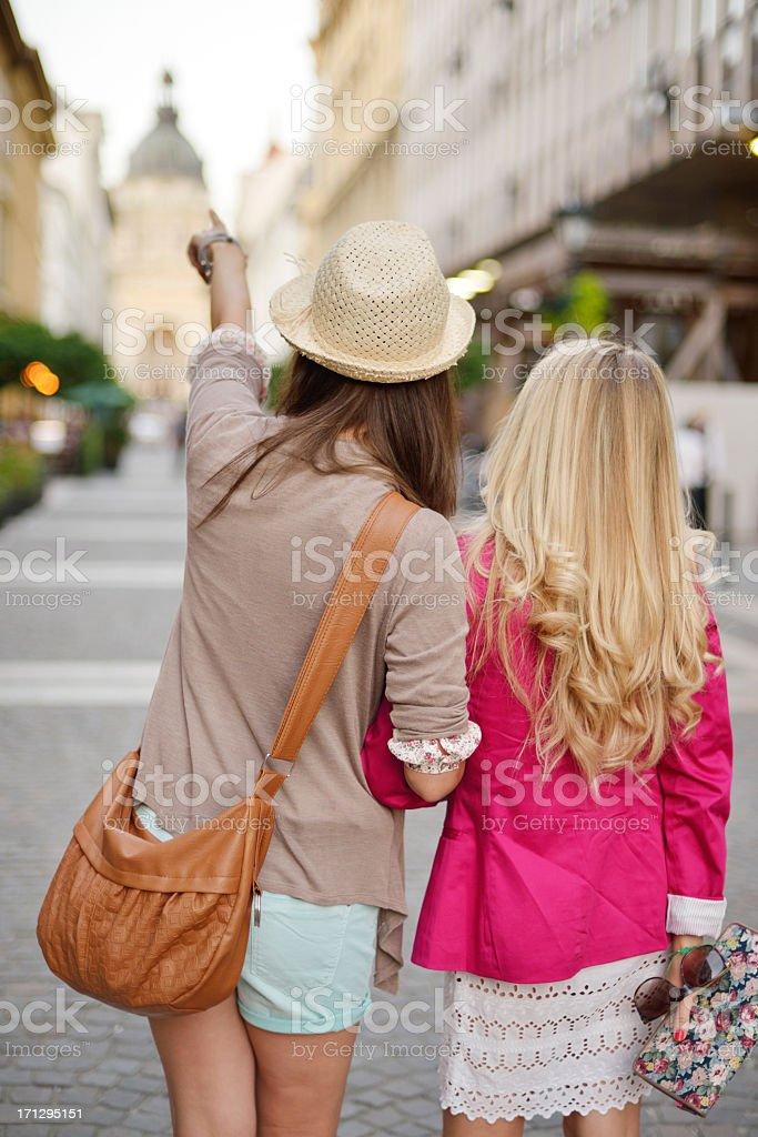 Young beautiful women sightseeing royalty-free stock photo