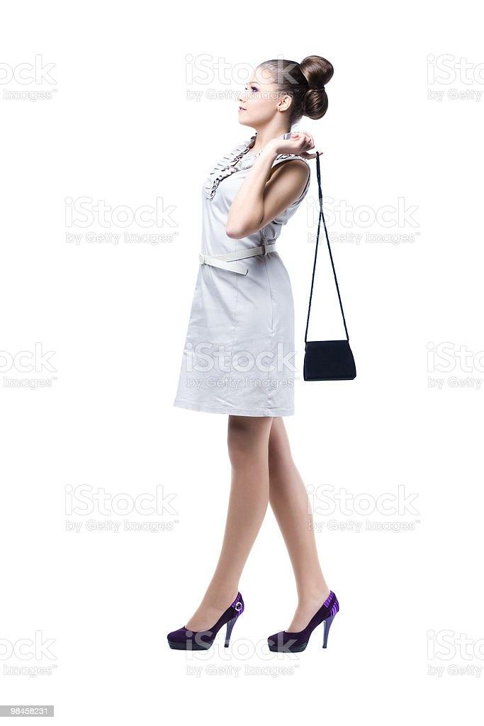 젊은 아름다운 여자대표 그녀의 핸드백은 royalty-free 스톡 사진