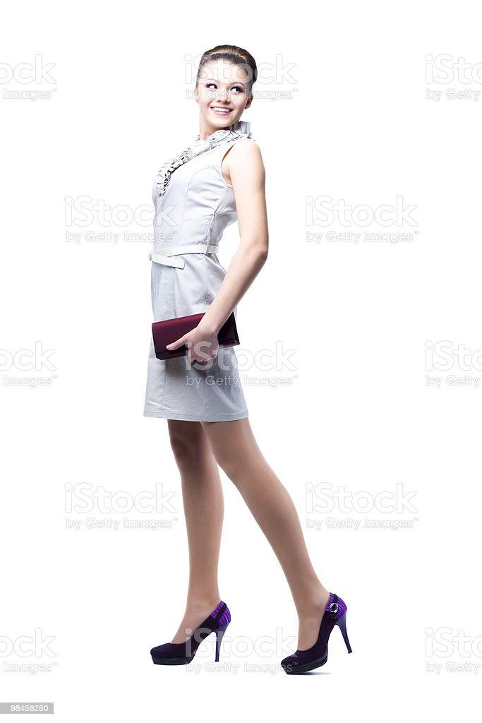 Giovane bella donna con la borsa foto stock royalty-free