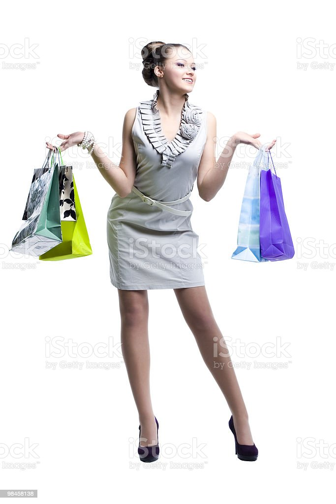 Giovane bella donna con la Sua shopping bag foto stock royalty-free