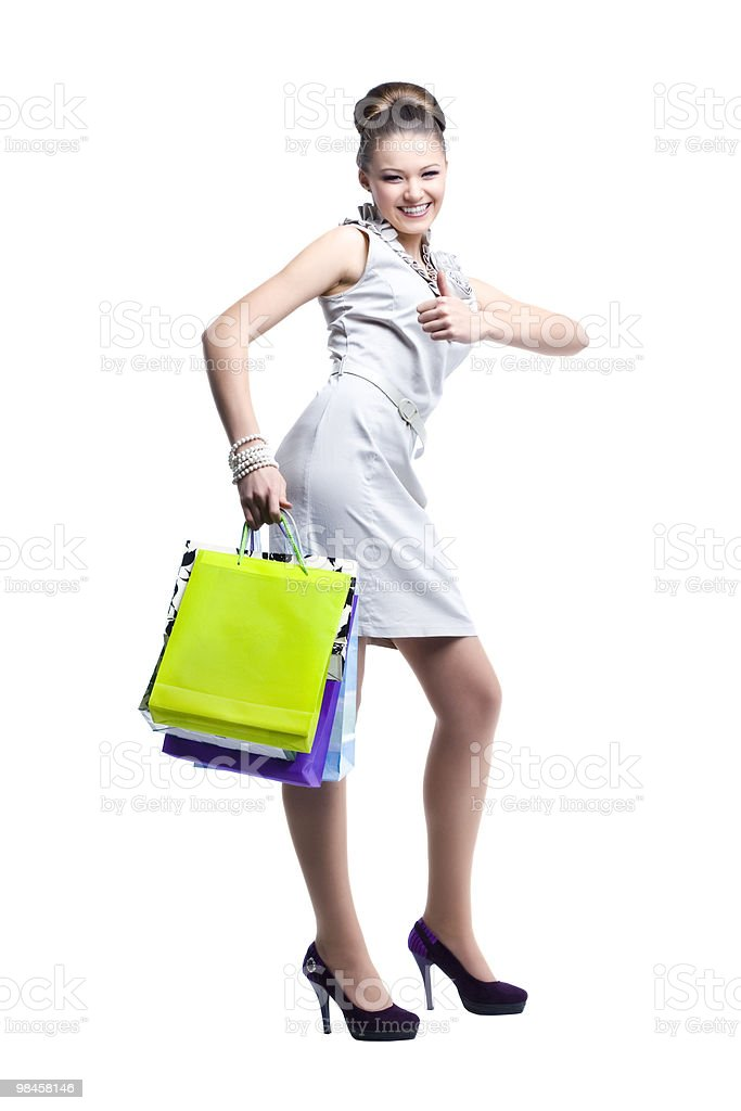 Young beautiful women with her shopping bags royalty-free stock photo
