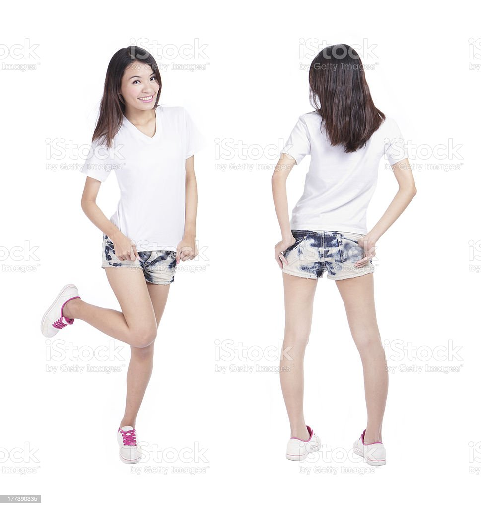 Young beauty girl show blank white shirt stock photo