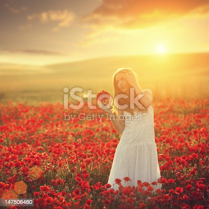 istock young beauty in poppy field at sunset 147506480