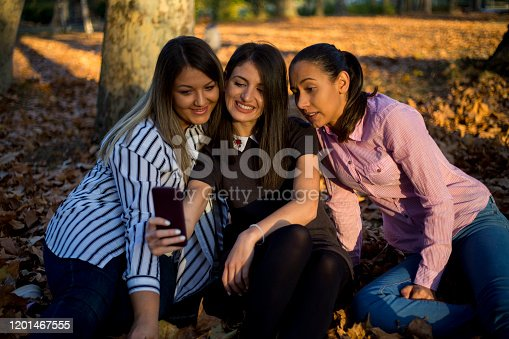 Young beauty woman make selfie on cell phone in a autumn park