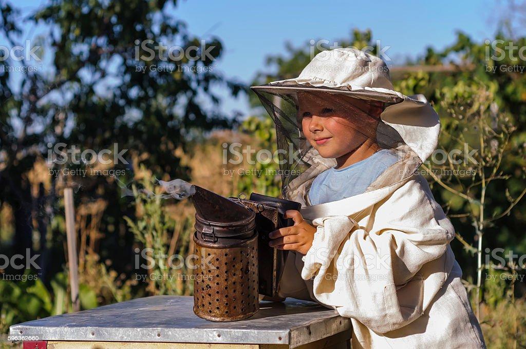 Young beekeeper boy using a smoker on bee yard royalty-free stock photo