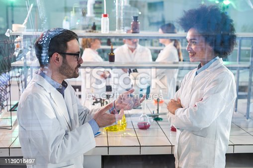 499203366 istock photo Young biochemists talking about scientific research in the laboratory. 1139016497