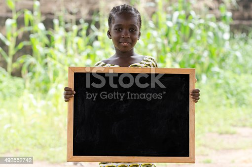 istock Young Black African Ethnicity Girl Holding Blackboard Up Outdoors 492552742