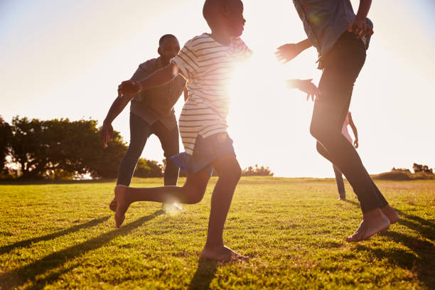 Young black family playing in a field in Summer stock photo