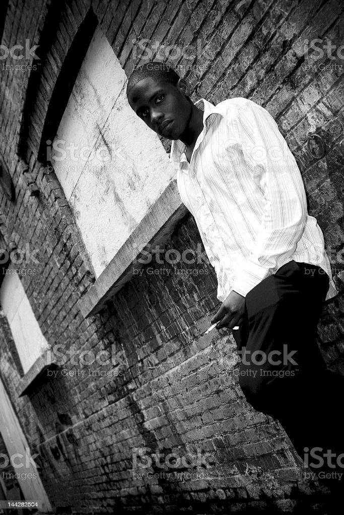 Young Black Man in Alley royalty-free stock photo