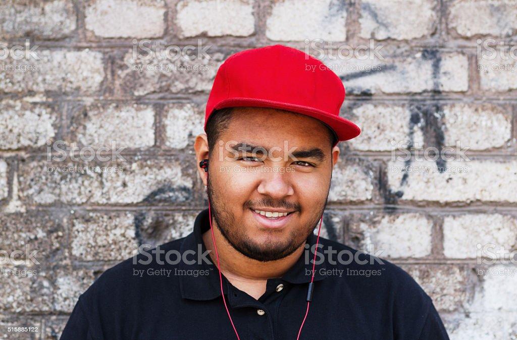 Young black man in headphones stock photo