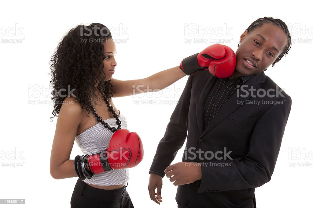 Young black woman fighting with her boyfriend stock photo