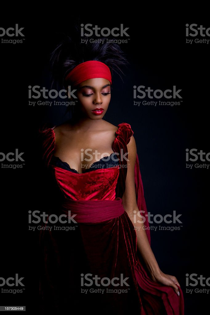 African American Young Woman Beauty Portrait in Regal Costume stock photo