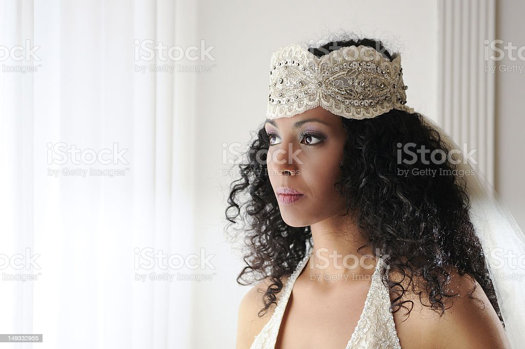 Young black woman, model of fashion, with wedding dress stock photo