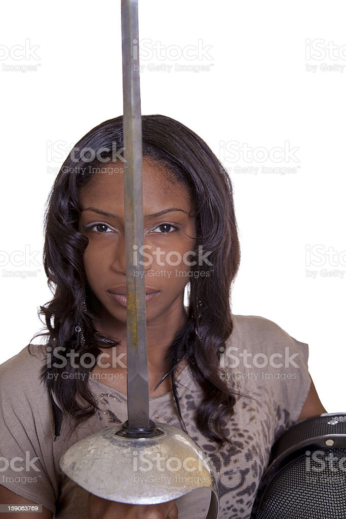 Young Black Woman Sword Salute With Mask royalty-free stock photo