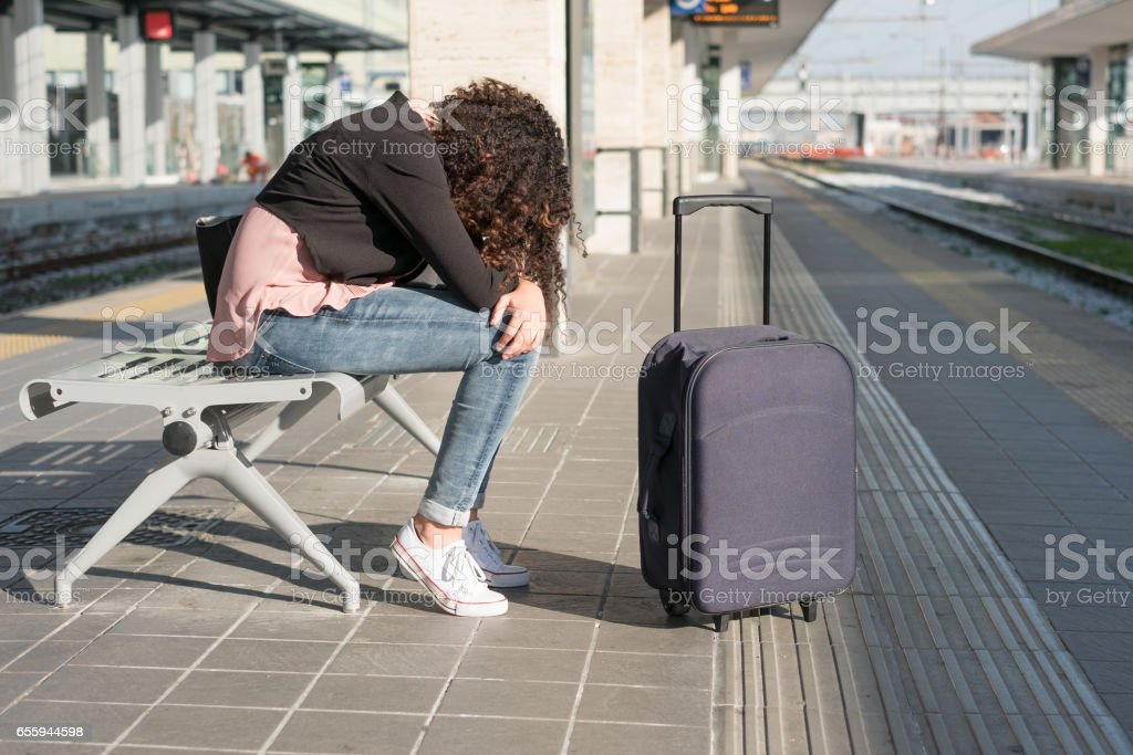 Young black woman waiting for the train stock photo