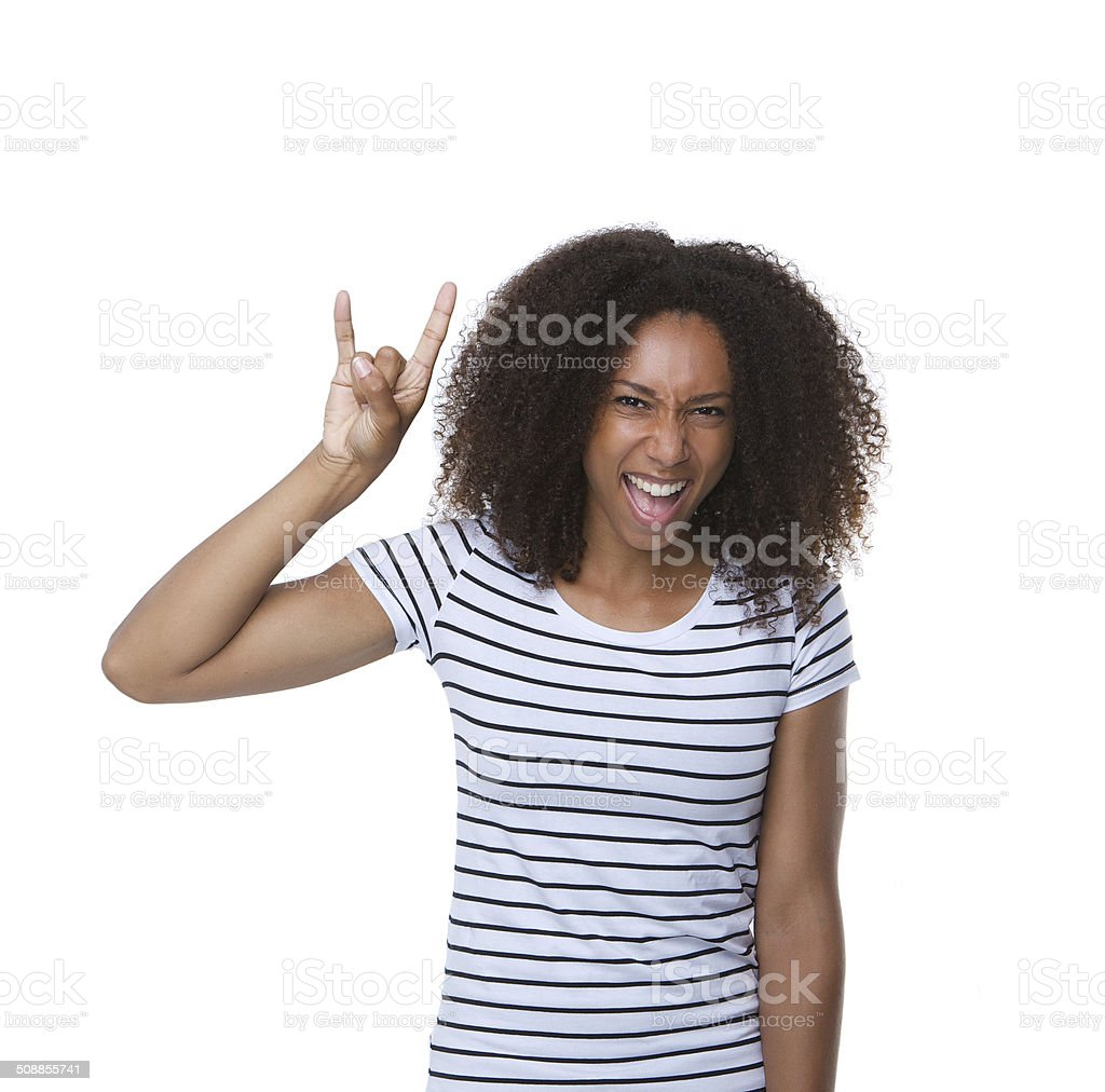 Young black woman with hand gesture stock photo