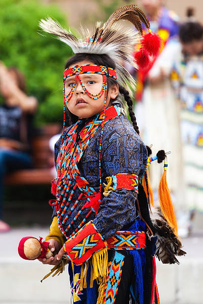 young blackfoot indian dancer - navajo culture stock photos and pictures