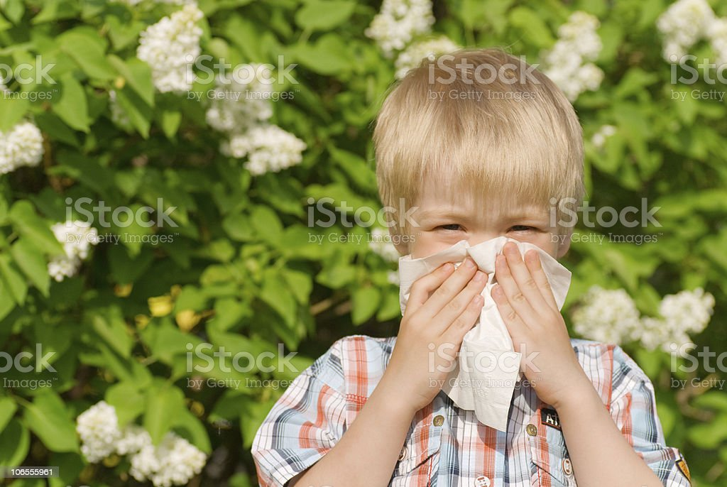 Young blond boy covers his face with tissue next to flowers royalty-free stock photo
