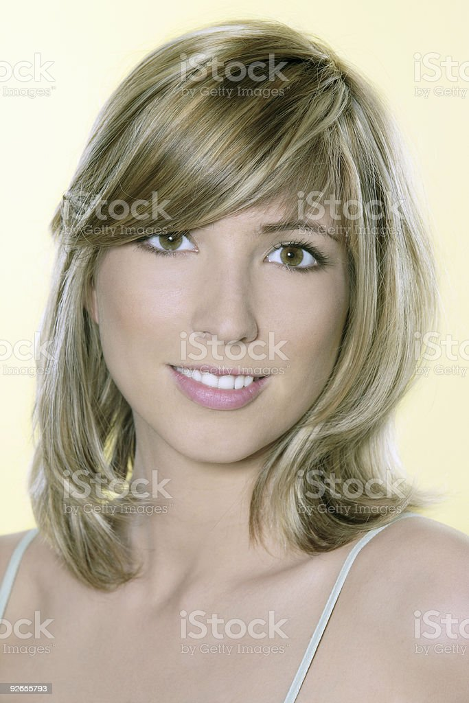 young blond caucasian smiling and woman royalty-free stock photo